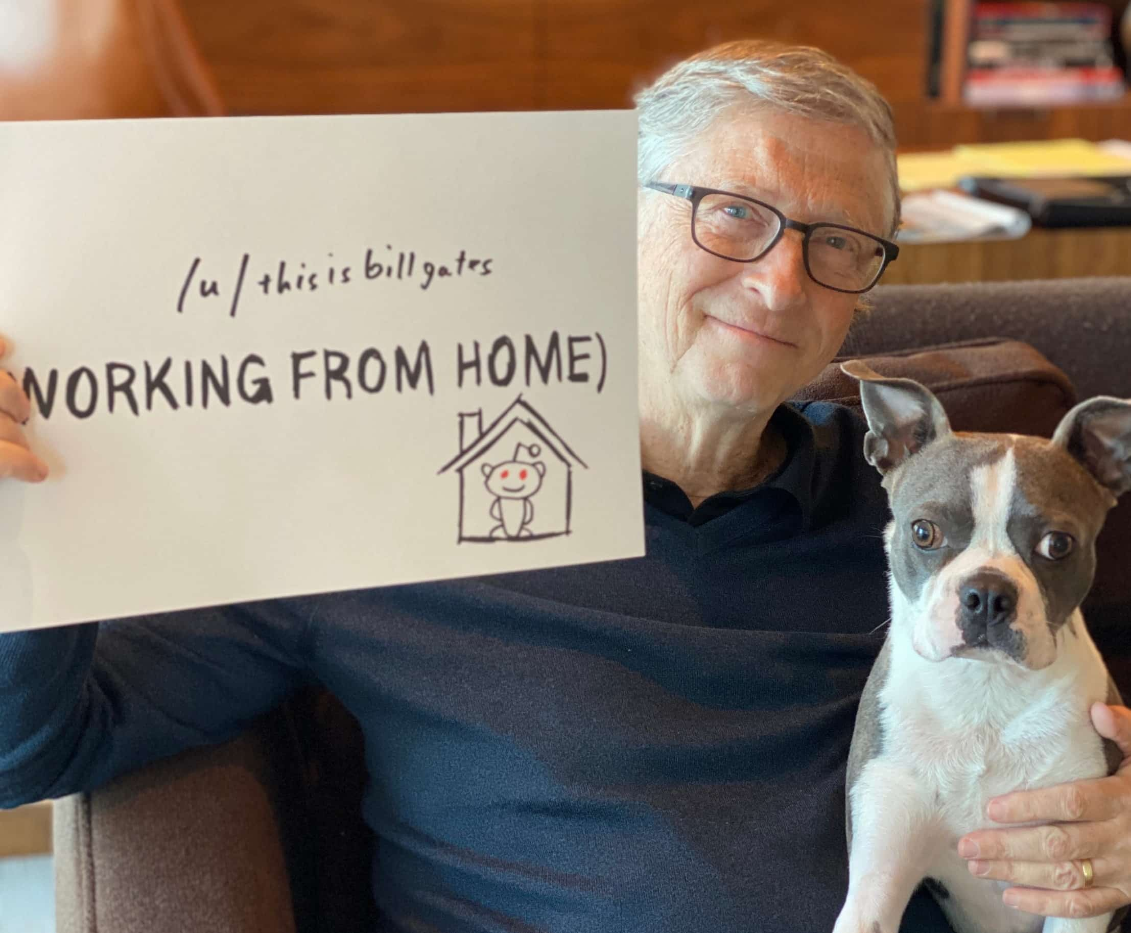 Bill Gates working at home