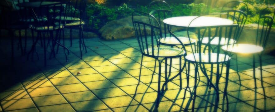 patio, morning, chairs